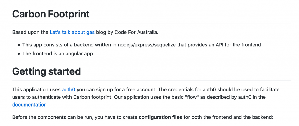 A screenshot of the Carbon Footprint repository on the Code for All GitHub